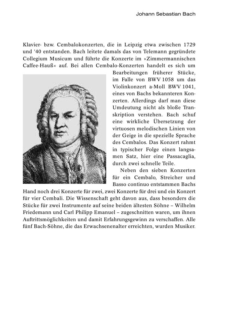 Johann Sebastian BachKlavier- bzw. Cembalokonzerten, die in Leipzig etwa zwischen 1729und '40 entstanden. Bach leitete dam...