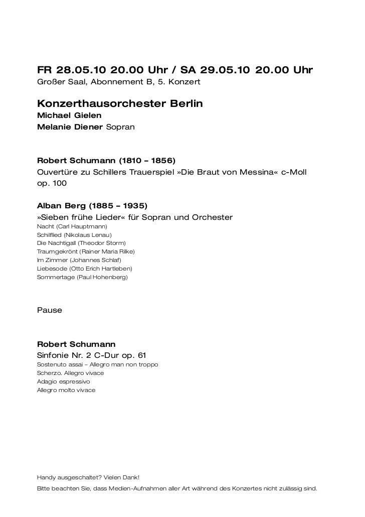 FR 28.05.10 20.00 Uhr / SA 29.05.10 20.00 UhrGroßer Saal, Abonnement B, 5. KonzertKonzerthausorchester BerlinMichael Giele...