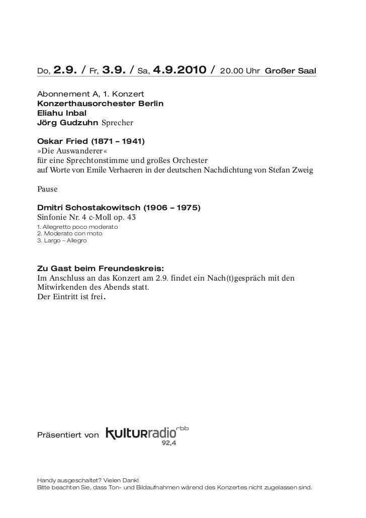 Do,   2.9. /     Fr,   3.9. /    Sa,   4.9.2010 /           20.00 Uhr Großer SaalAbonnement A, 1. KonzertKonzerthausorches...