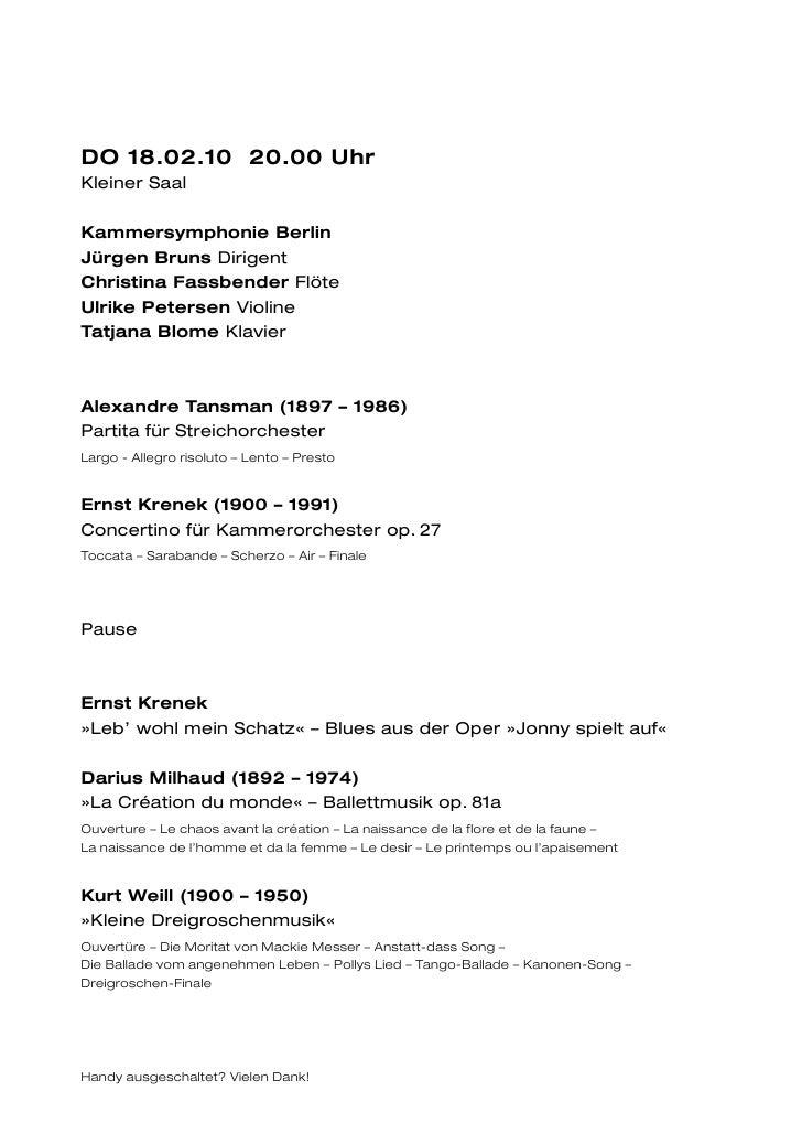 DO 18.02.10 20.00 UhrKleiner SaalKammersymphonie BerlinJürgen Bruns DirigentChristina Fassbender FlöteUlrike Petersen Viol...