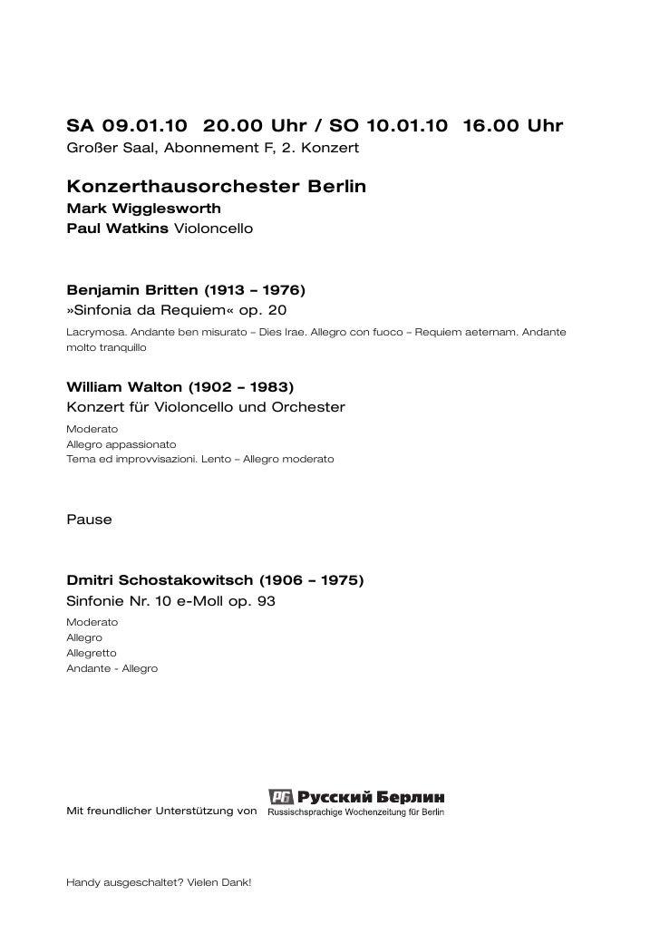 SA 09.01.10 20.00 Uhr / SO 10.01.10 16.00 UhrGroßer Saal, Abonnement F, 2. KonzertKonzerthausorchester BerlinMark Wigglesw...