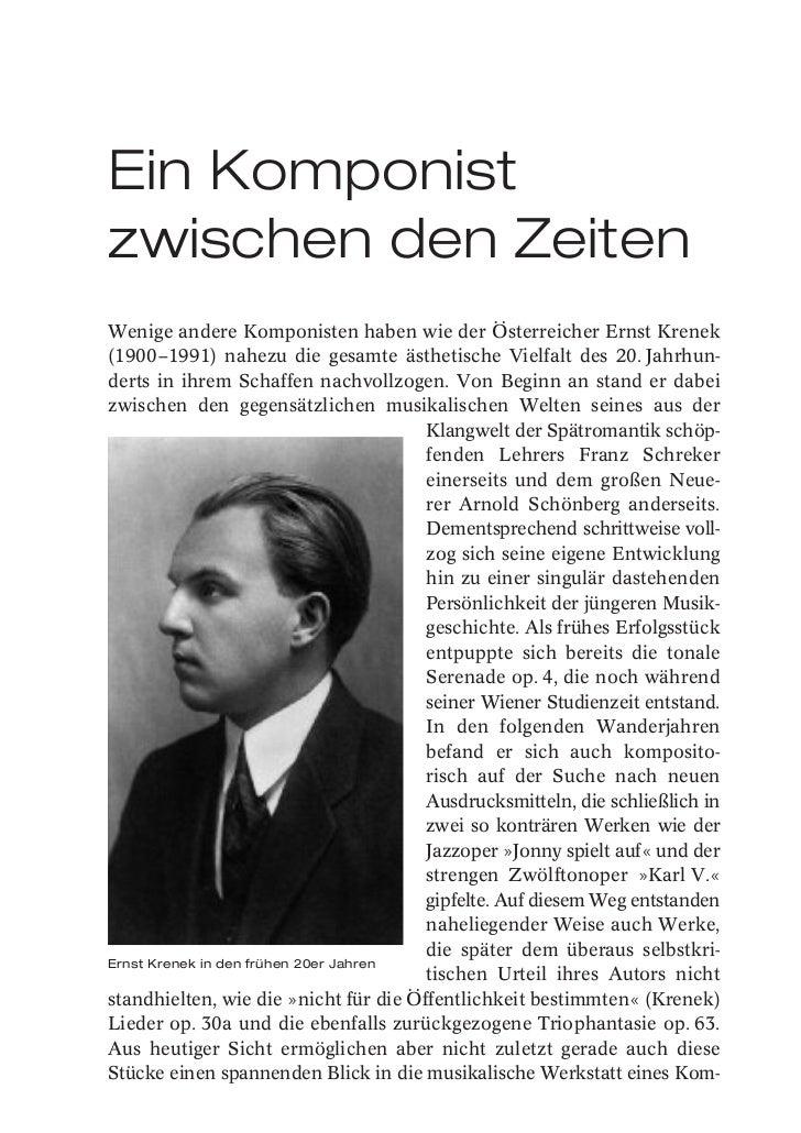 Ein Komponistzwischen den ZeitenWenige andere Komponisten haben wie der Österreicher Ernst Krenek(1900–1991) nahezu die ge...