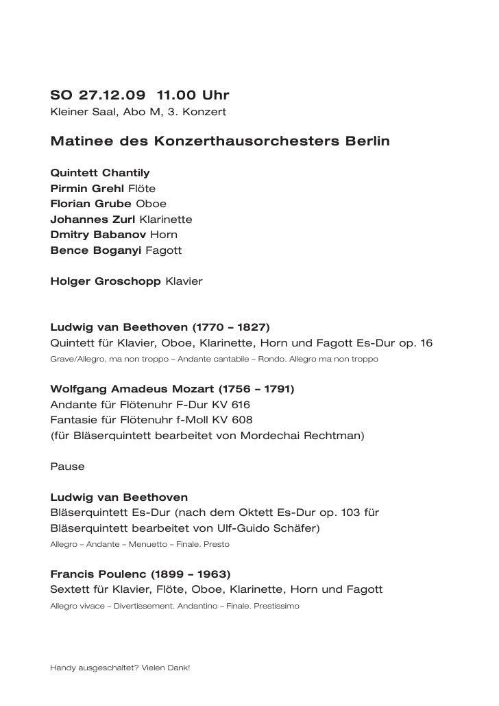 SO 27.12.09 11.00 UhrKleiner Saal, Abo M, 3. KonzertMatinee des Konzerthausorchesters BerlinQuintett ChantilyPirmin Grehl ...