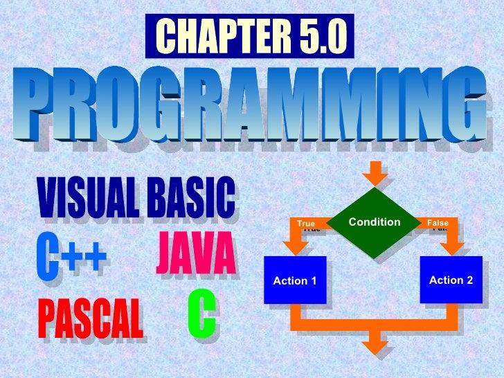 Action 1 Action 2 False True Condition VISUAL BASIC C++ JAVA PASCAL C PROGRAMMING PROGRAMMING CHAPTER 5.0 VISUAL BASIC C++...