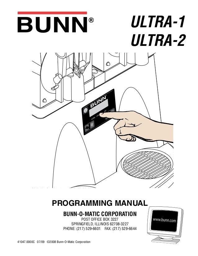 bunn ultra 2 slush machine programming rh slideshare net Velocity Brew BX Bunn Coffee Makers On Sale