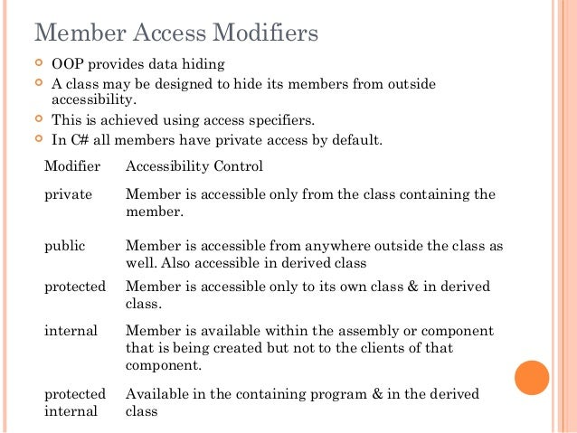 Member Access Modifiers OOP provides data hiding A class may be designed to hide its members from outsideaccessibility....
