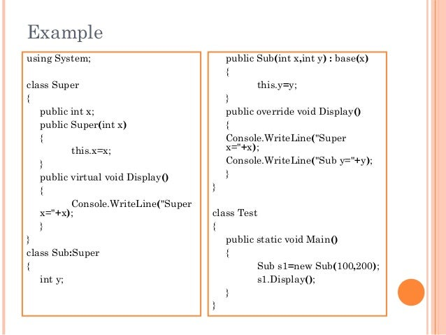 Exampleusing System;class Super{public int x;public Super(int x){this.x=x;}public virtual void Display(){Console.WriteLine...