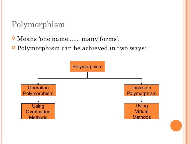 Polymorphism Means 'one name ….. many forms'. Polymorphism can be achieved in two ways:PolymorphismInclusionPolymorphism...