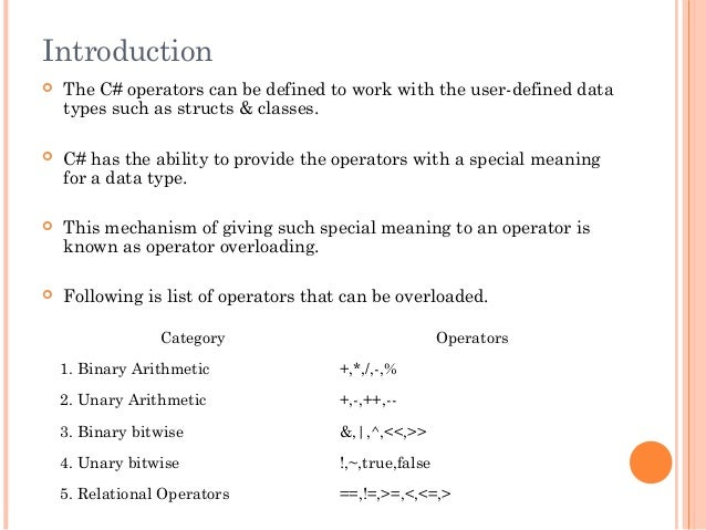 Introduction The C# operators can be defined to work with the user-defined datatypes such as structs & classes. C# has t...