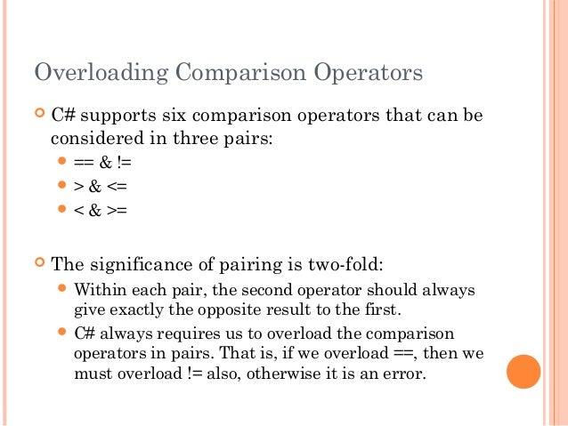 Overloading Comparison Operators C# supports six comparison operators that can beconsidered in three pairs: == & != > &...