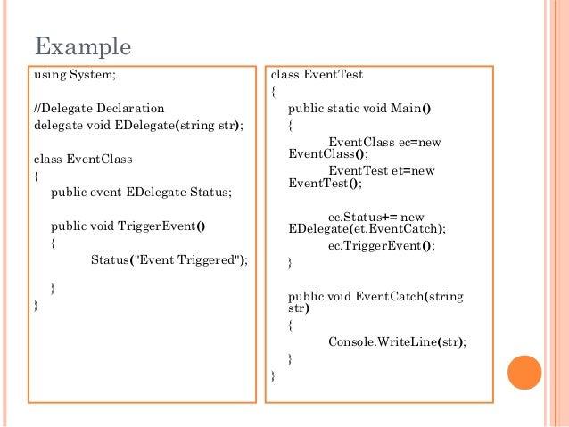 Exampleusing System;//Delegate Declarationdelegate void EDelegate(string str);class EventClass{public event EDelegate Stat...