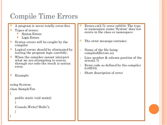 Compile Time Errors A program is never totally error-free Types of errors: Syntax Errors Logic Errors Syntax errors w...