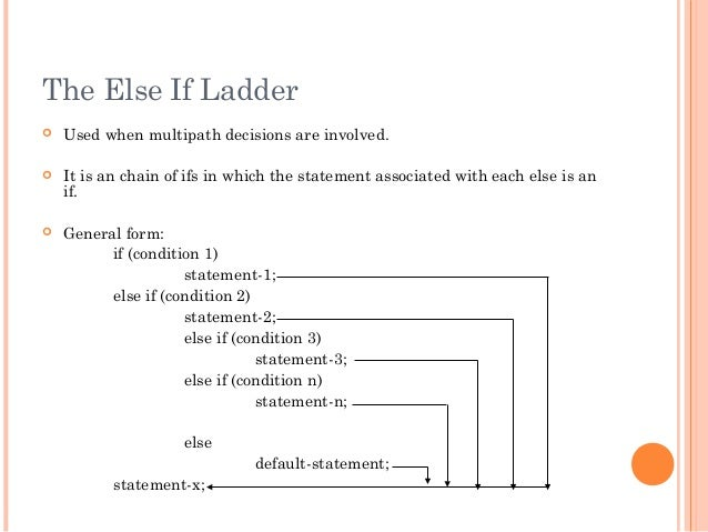 The Else If Ladder Used when multipath decisions are involved. It is an chain of ifs in which the statement associated w...