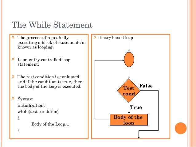 The While Statement The process of repeatedlyexecuting a block of statements isknown as looping. Is an entry-controlled ...