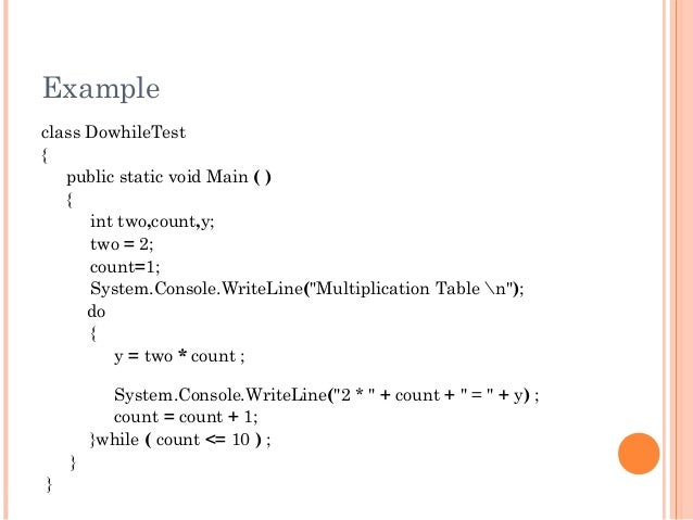 """Exampleclass DowhileTest{public static void Main ( ){int two,count,y;two = 2;count=1;System.Console.WriteLine(""""Multiplicat..."""