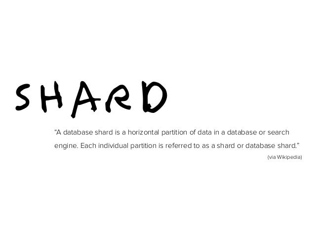 """SHARD """"A database shard is a horizontal partition of data in a database or search  engine. Each individual partition is re..."""