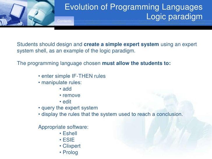 Evolution of Programming Languages                 Contents                                          Logic paradigm   Stud...