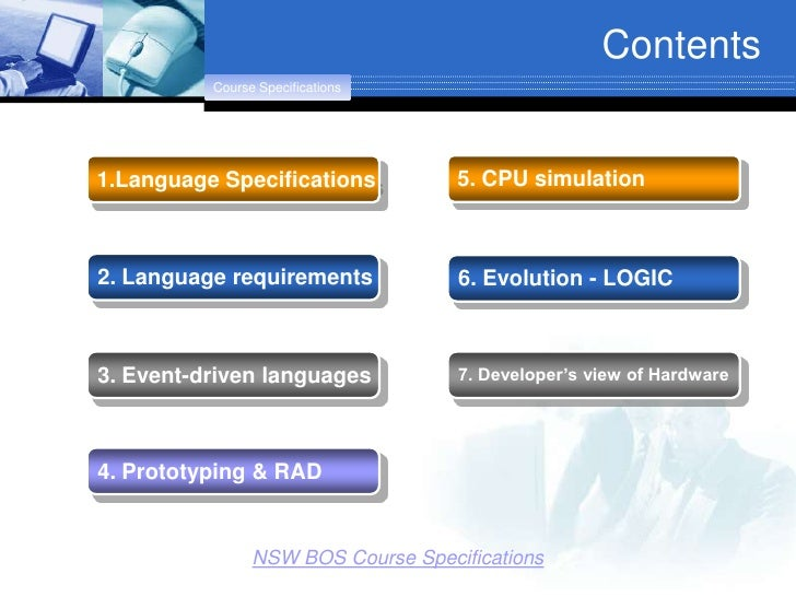 Contents           Course Specifications     1.Language Specifications           5. CPU simulation    2. Language requirem...