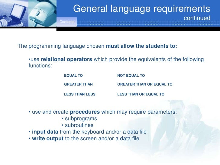 General language requirements                                                                    continued                ...