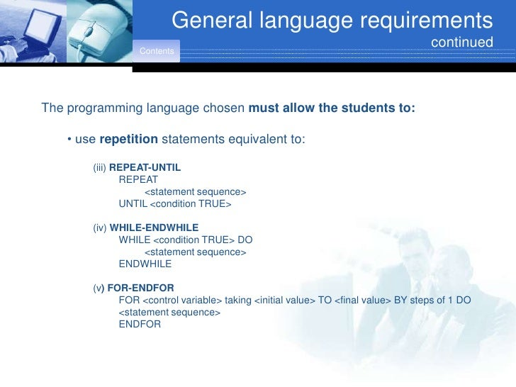 General language requirements                                                                                     continue...