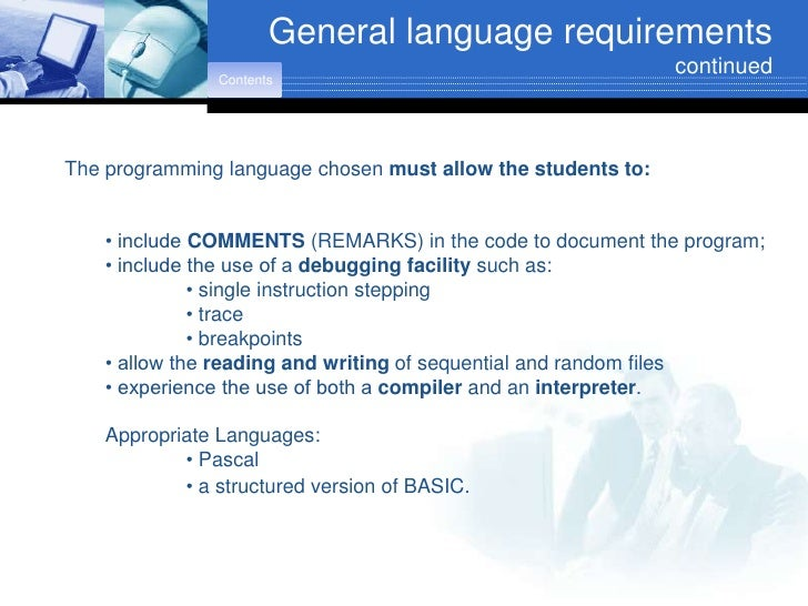 General language requirements                                                               continued                 Cont...