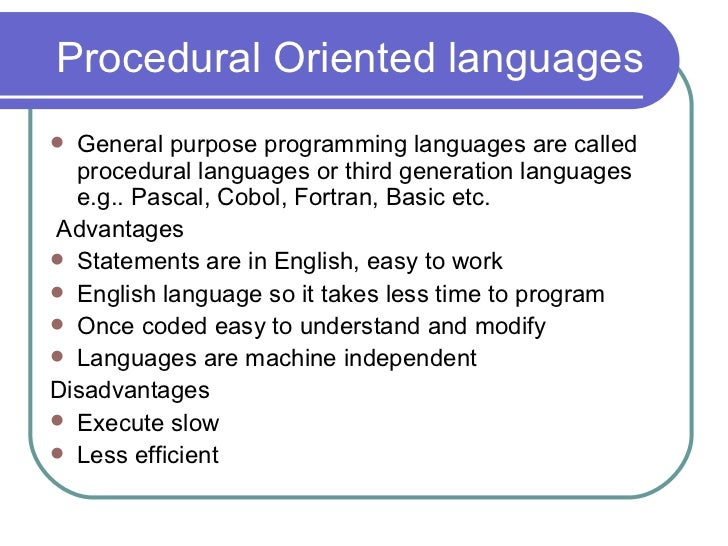 what is procedure oriented programming
