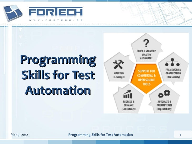 Programming     Skills for Test      AutomationMar 9, 2012   Programming Skills for Test Automation   1