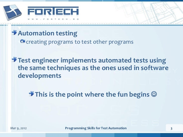 Programming skills for test automation