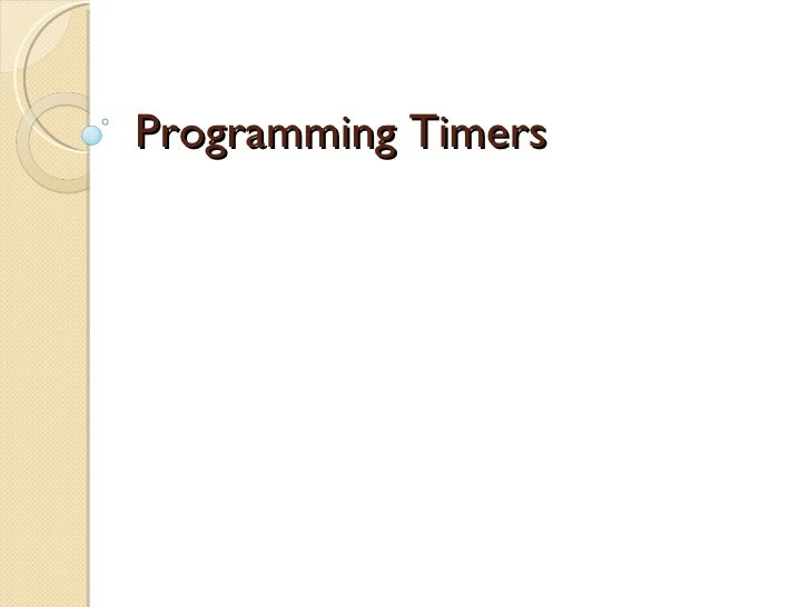 Programming Timers