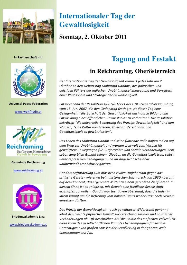 Internationaler Tag der                             Gewaltlosigkeit                             Sonntag, 2. Oktober 2011  ...