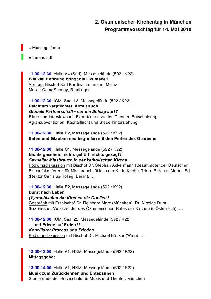 2. Ökumenischer Kirchentag in München                                        Programmvorschlag für 14. Mai 2010   = Messeg...
