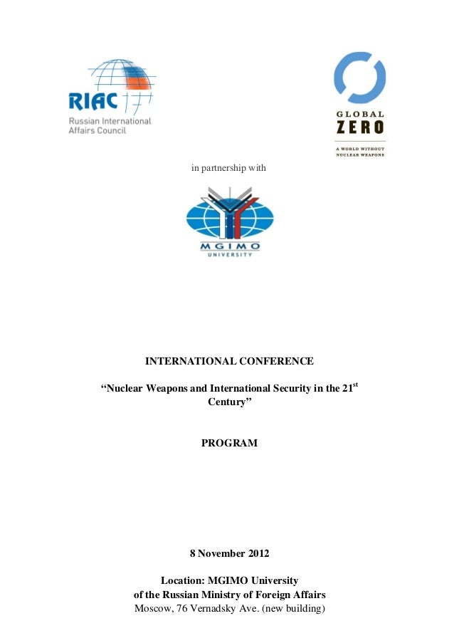 """in partnership with         INTERNATIONAL CONFERENCE""""Nuclear Weapons and International Security in the..."""