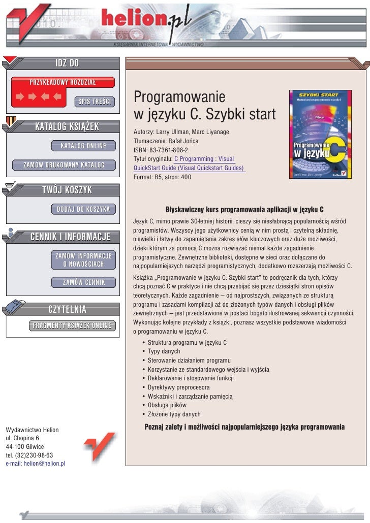 IDZ DO          PRZYK£ADOWY ROZDZIA£                             SPIS TRE CI   Programowanie                              ...