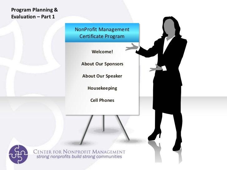 Non-Profit Program Planning and Evaluation Slide 2