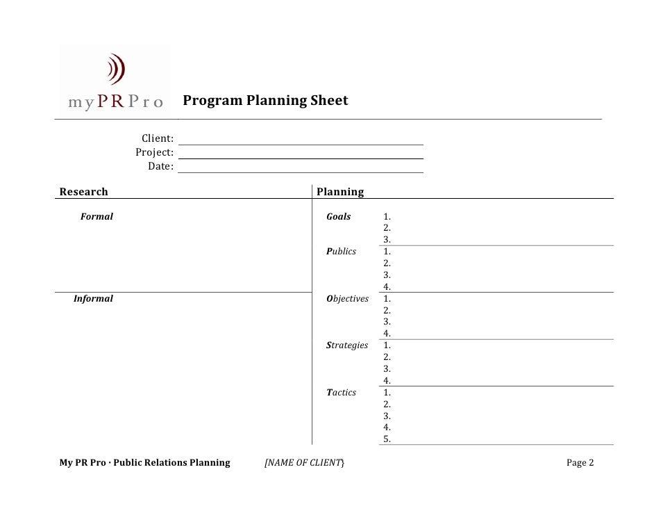 public relations program planning sheet. Black Bedroom Furniture Sets. Home Design Ideas