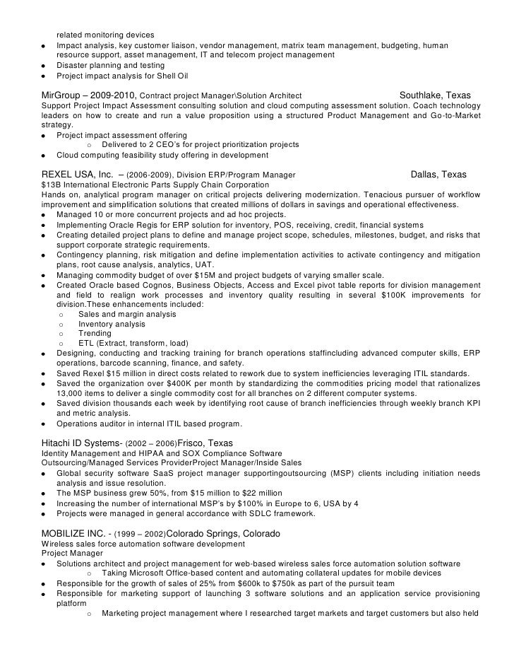 telecom project manager cv - Sample Resume For Project Manager In Telecom