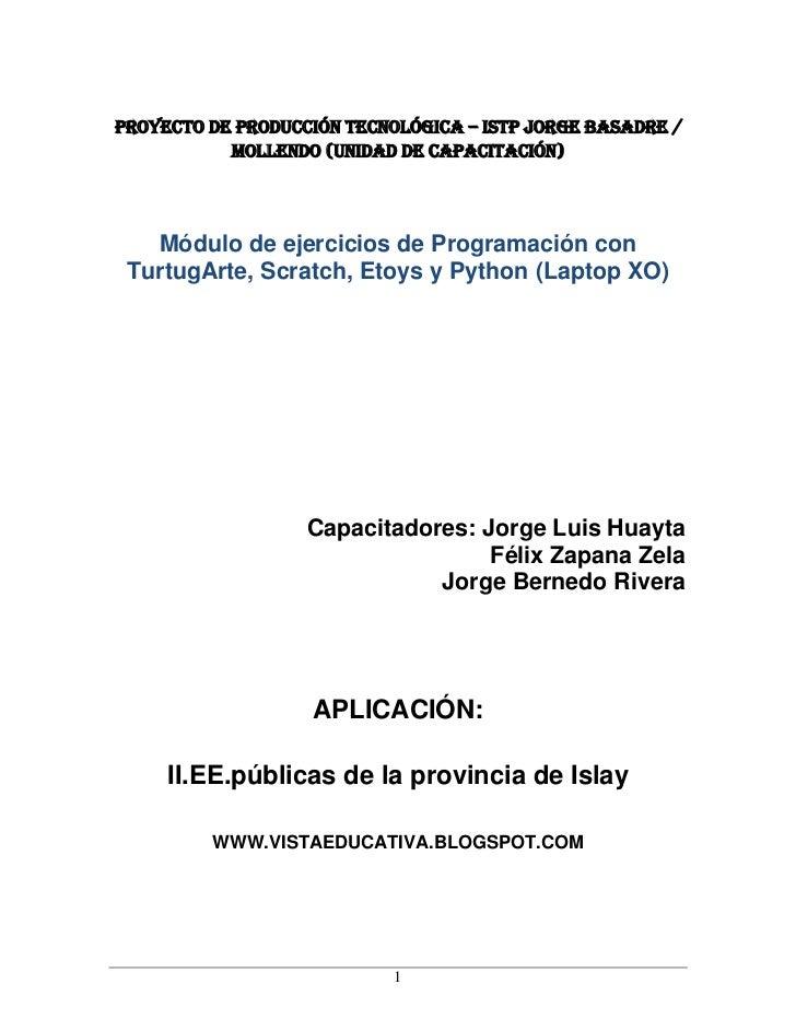 PROYECTO DE PRODUCCIÓN TECNOLÓGICA – ISTP JORGE BASADRE /           Mollendo (UNIDAD DE CAPACITACIÓN)   Módulo de ejercici...