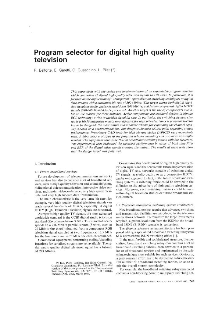 Program Selector For Digital High Definition Television (HDTV)