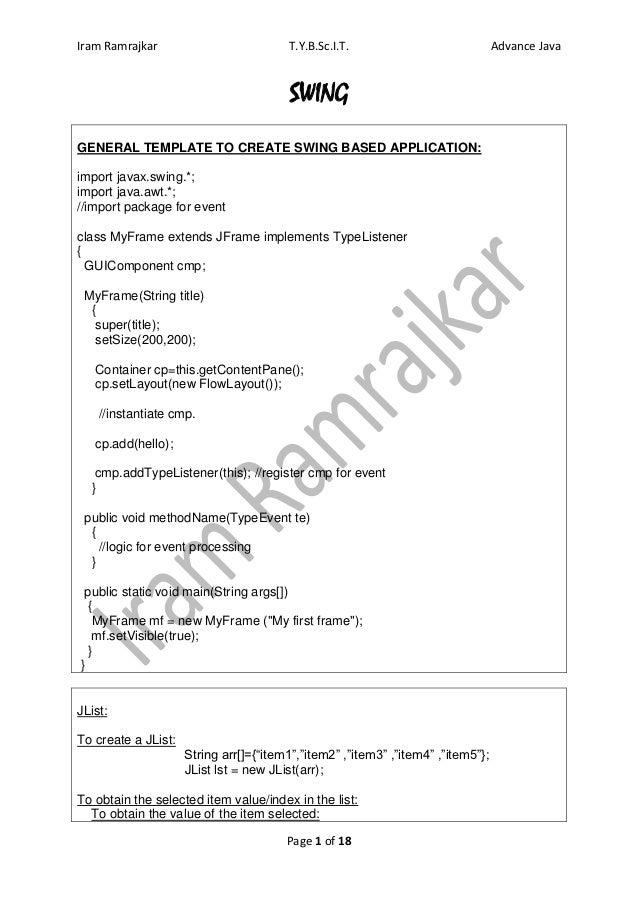Iram Ramrajkar                          T.Y.B.Sc.I.T.                             Advance Java                            ...