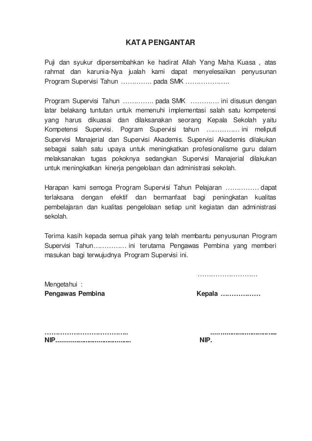 Program Supervisi Kepala Sekolah Contoh Untuk Smk