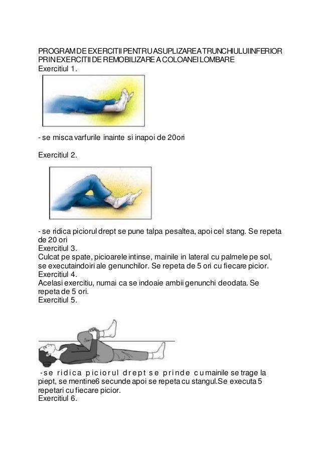 PROGRAM DE EXERCITII PENTRU ASUPLIZAREA TRUNCHIULUIINFERIOR  PRIN EXERCITII DE REMOBILIZARE A COLOANEI LOMBARE  Exercitiul...
