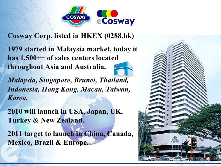 Cosway Corp. listed in HKEX (0288.hk) 1979 started in Malaysia market, today it has 1,500++ of sales centers located throu...