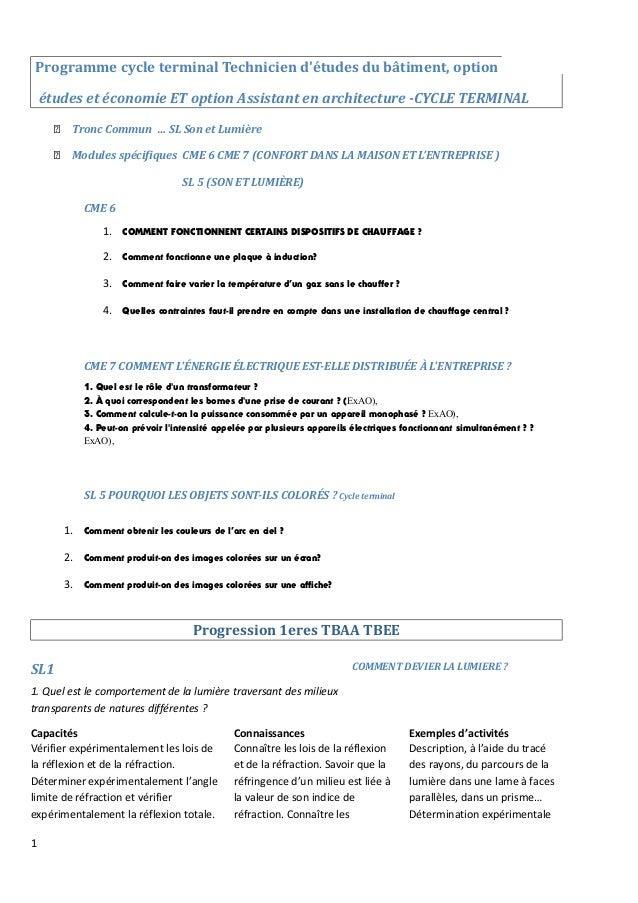 Programme cycle terminal Technicien d'études du bâtiment, option études et économie ET option Assistant en architecture -C...