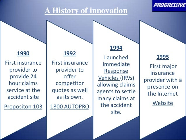 innovation at progressive pay as you go insurance Progressive: pay-as-you-go insurance 1 pay-as a history of innovation 1990 first insurance provider to provide 24 hour claims service at the accident site.
