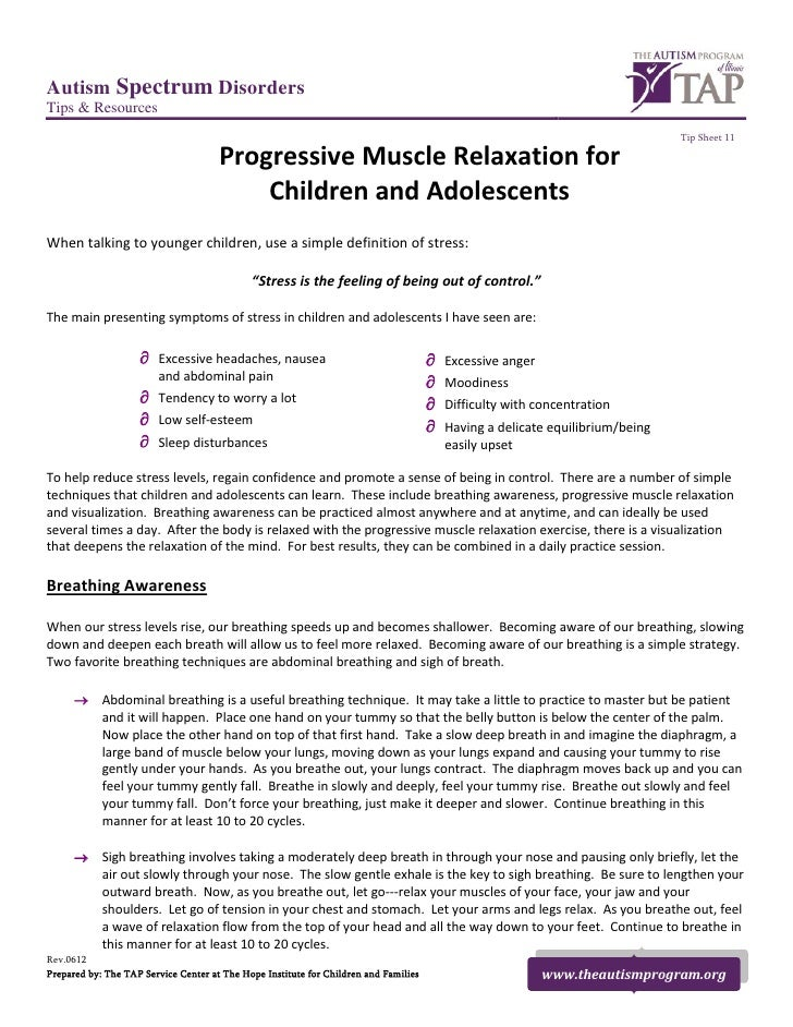 Progressive Muscle Relaxation for Children and Adolescents