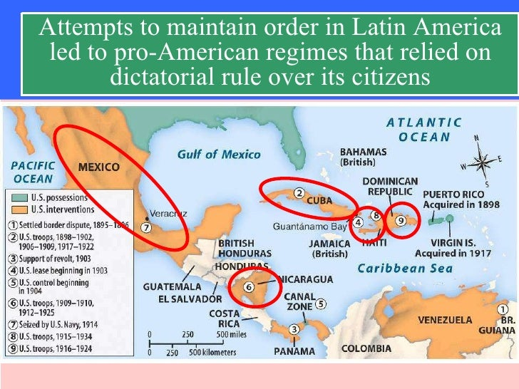 Progressive Presidents Foreign Policy - Us latin american intervention maps