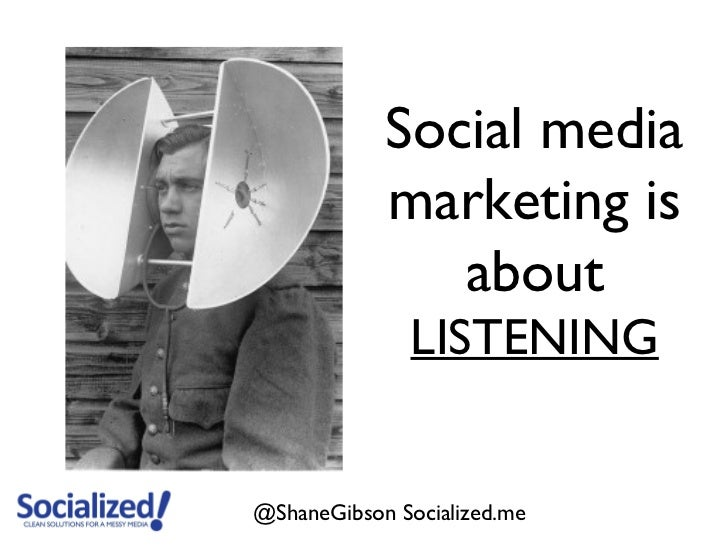 Social media            marketing is               about              LISTENING@ShaneGibson Socialized.me