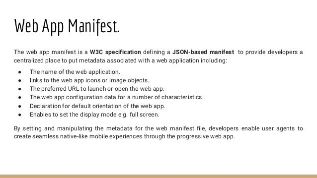Application Shell Architecture ● Some progressive web apps use an architectural approach called the App Shell Model. ● For...