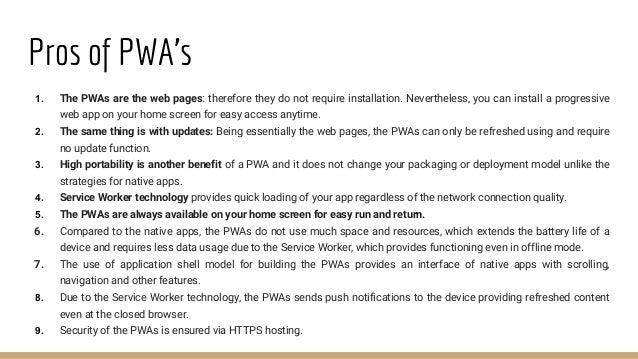 Impact of PWA's