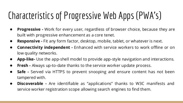 """History of PWA's ● In 2015, designer Frances Berriman and Google Chrome engineer Alex Russell coined the term """"progressive..."""